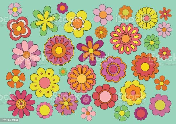 Jaren Zestig Bloemen Stockvectorkunst en meer beelden van 1960