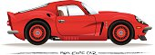 Side profile vector drawing of a 1960's era sports car.