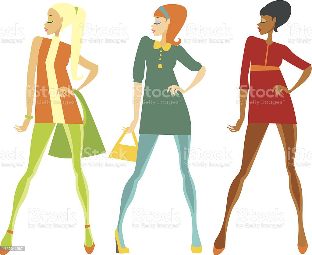 Sixties style girls royalty-free stock vector art