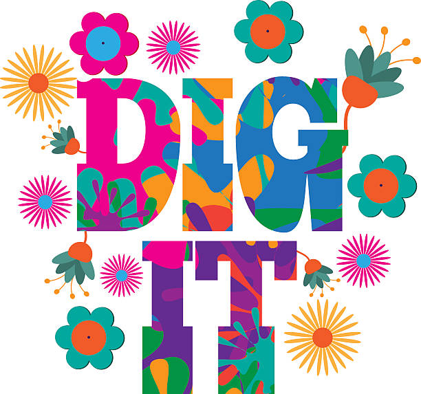 sixties style mod pop art dig it  text design. - hippie fashion stock illustrations, clip art, cartoons, & icons