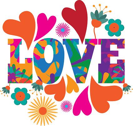 Sixties style mod pop art Love text design.