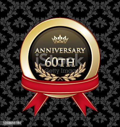 Sixtieth anniversary celebration gold award with with a red ribbon on a black damask background.