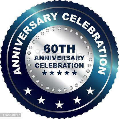 Sixtieth anniversary celebration silver award with five stars.
