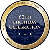 Sixtieth birthday celebration gold award with a laurel wreath and stars.