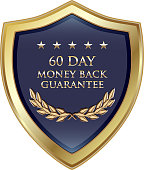 Sixty day money back guarantee luxury gold shield with five stars.