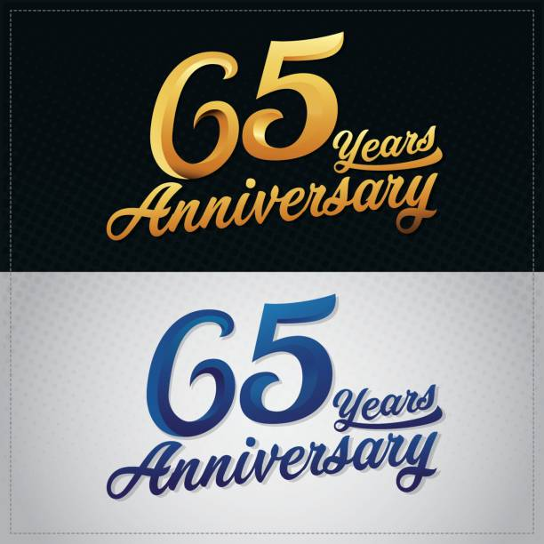 sixty five years anniversary celebration logotype. 65th anniversary logo vector art illustration