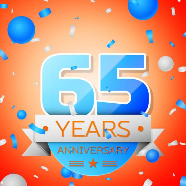 Sixty five years anniversary celebration on orange background. Anniversary ribbon vector art illustration