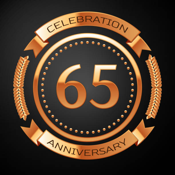 Sixty five years anniversary celebration with golden ring and ribbon. vector art illustration