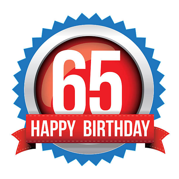 Sixty five years happy birthday badge ribbon vector art illustration