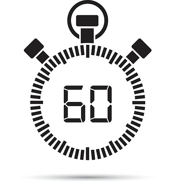 sixty second timer - single object stock illustrations, clip art, cartoons, & icons