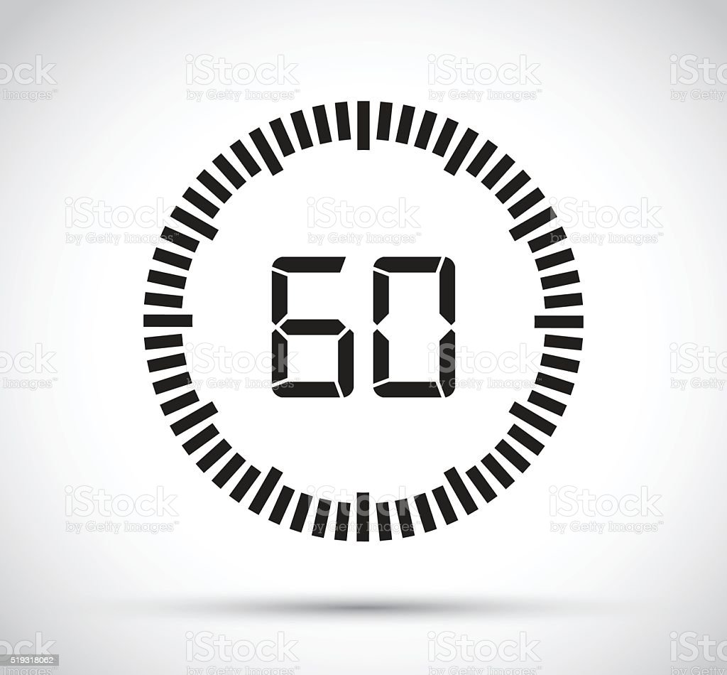 sixty second timer vector art illustration