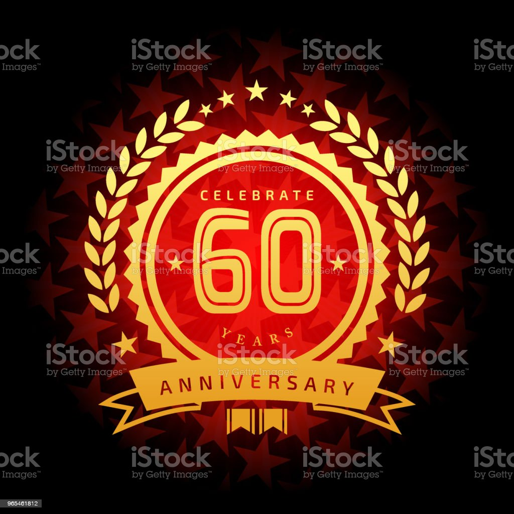 Sixty year anniversary icon with red color star shape background vector art illustration