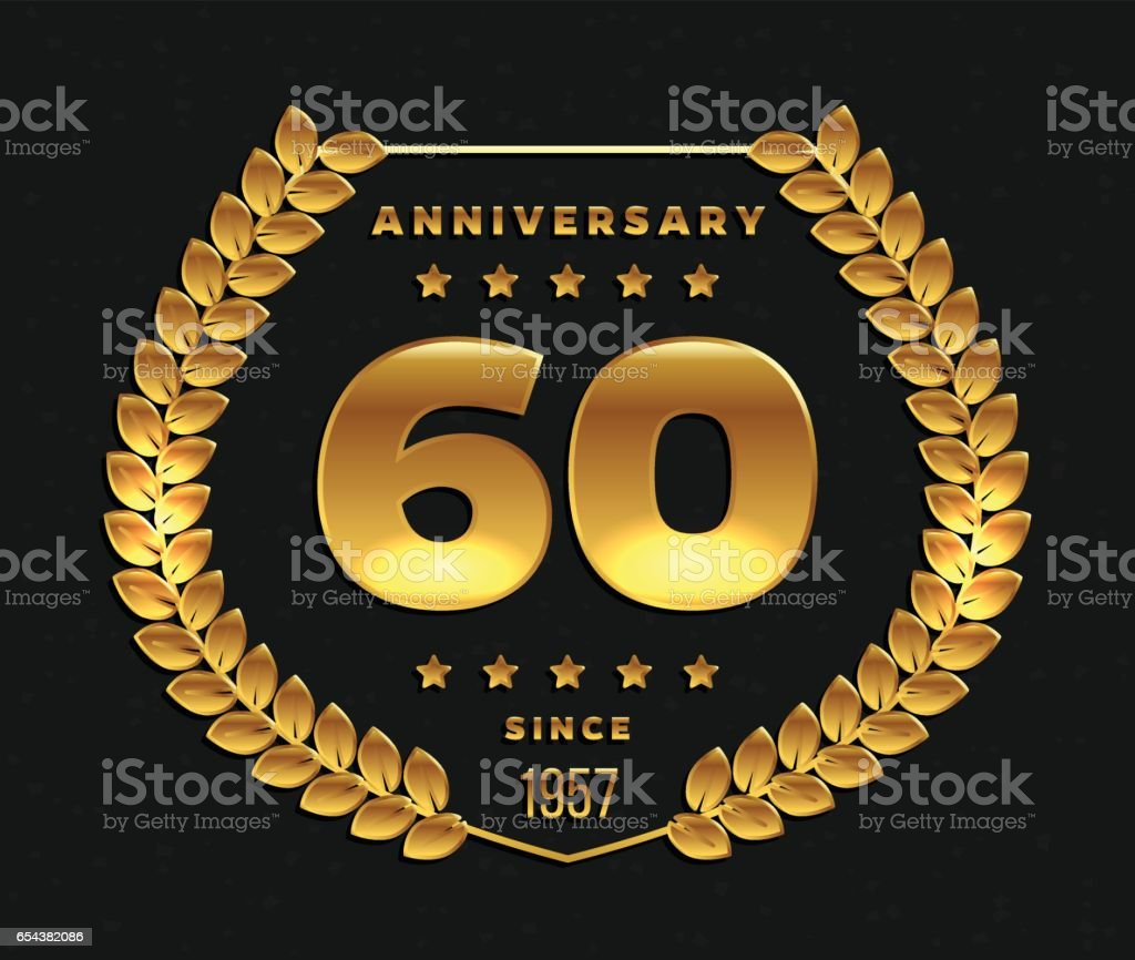 Sixty years anniversary banner. 60th anniversary golden logo. vector art illustration
