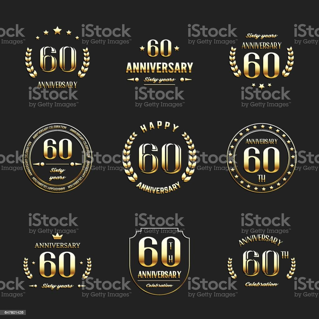 Sixty years anniversary celebration logotype. 60th anniversary gold logo set. vector art illustration