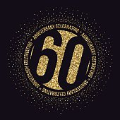 Sixty years anniversary celebration logotype. 60th anniversary golden logo.