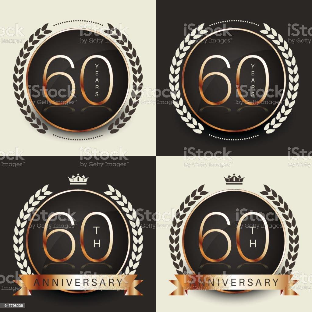 Sixty years anniversary celebration logotype. 60th anniversary logo set. vector art illustration