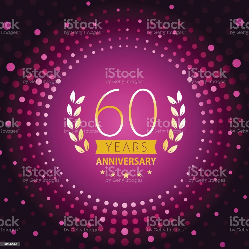 Sixty years anniversary icon with purple color background vector art illustration