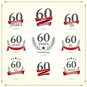 Sixty years anniversary icons collection