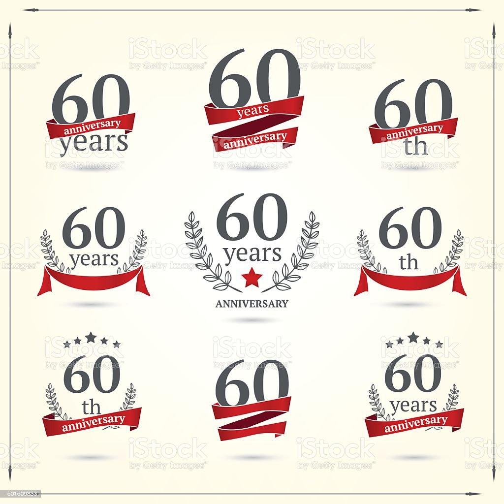 60 anni anniversario icone di raccolta - illustrazione arte vettoriale