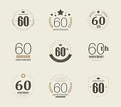 Sixty years anniversary logo. 60th anniversary vintage logotype.