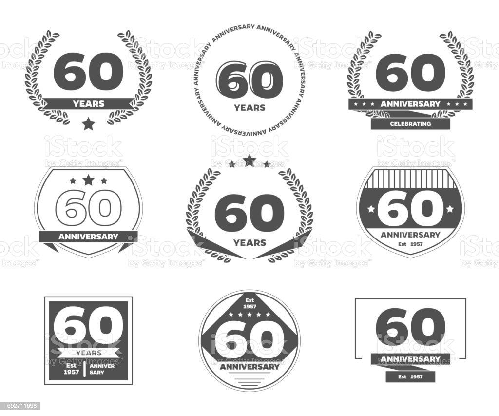 Sixty years anniversary logotype. 60th anniversary vintage logo set. vector art illustration