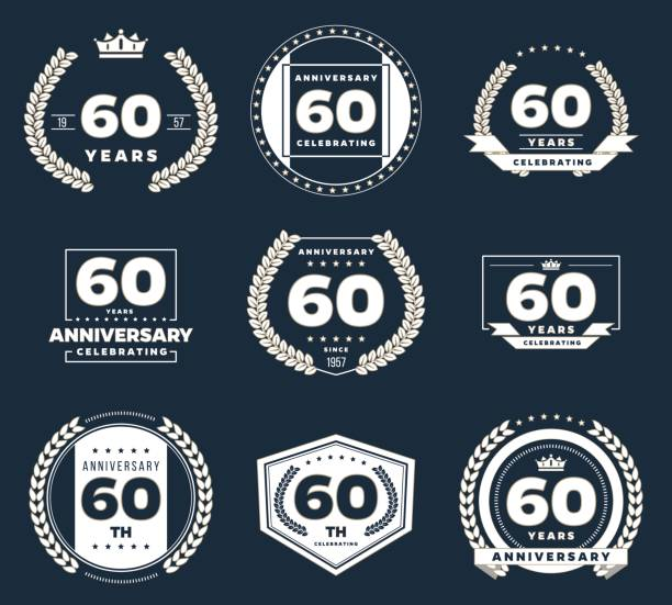 60th Anniversary Illustrations, Royalty-Free Vector