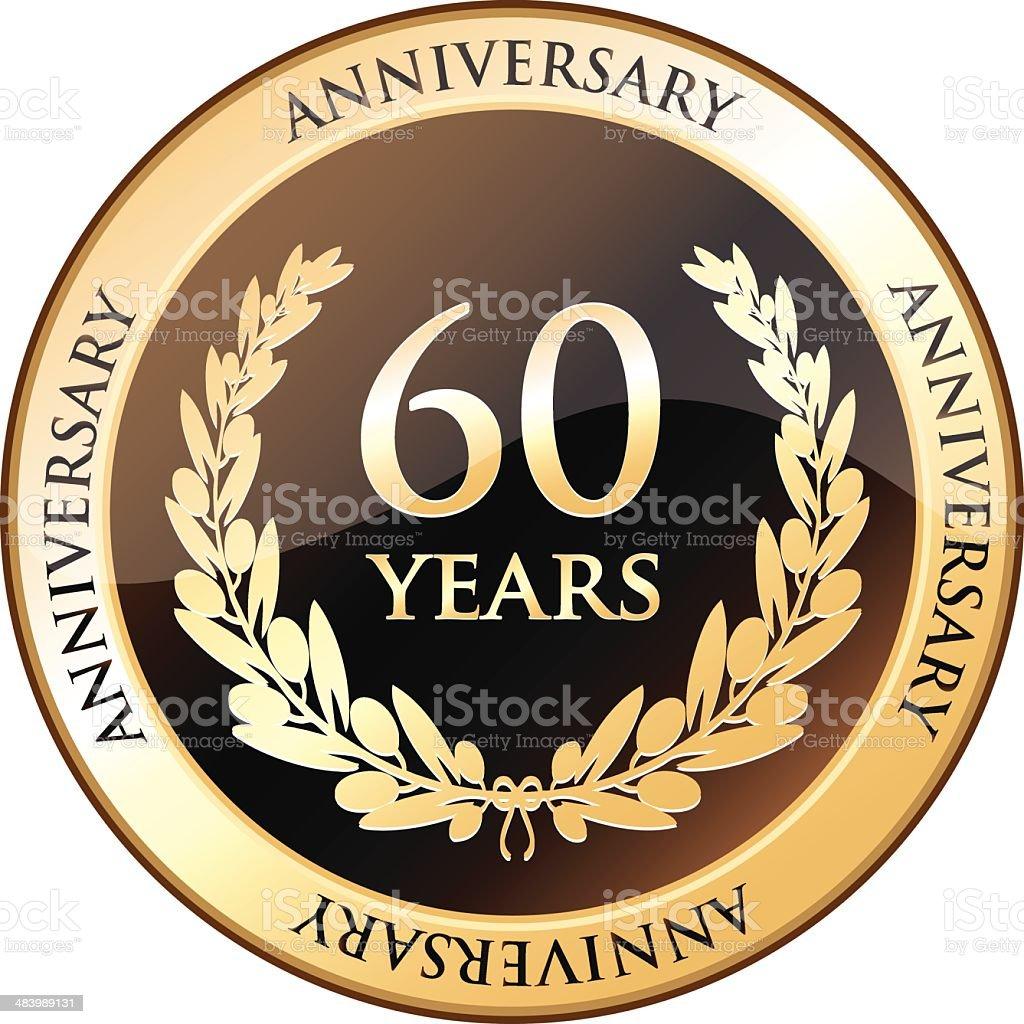 Sixty Years Anniversary Shield vector art illustration