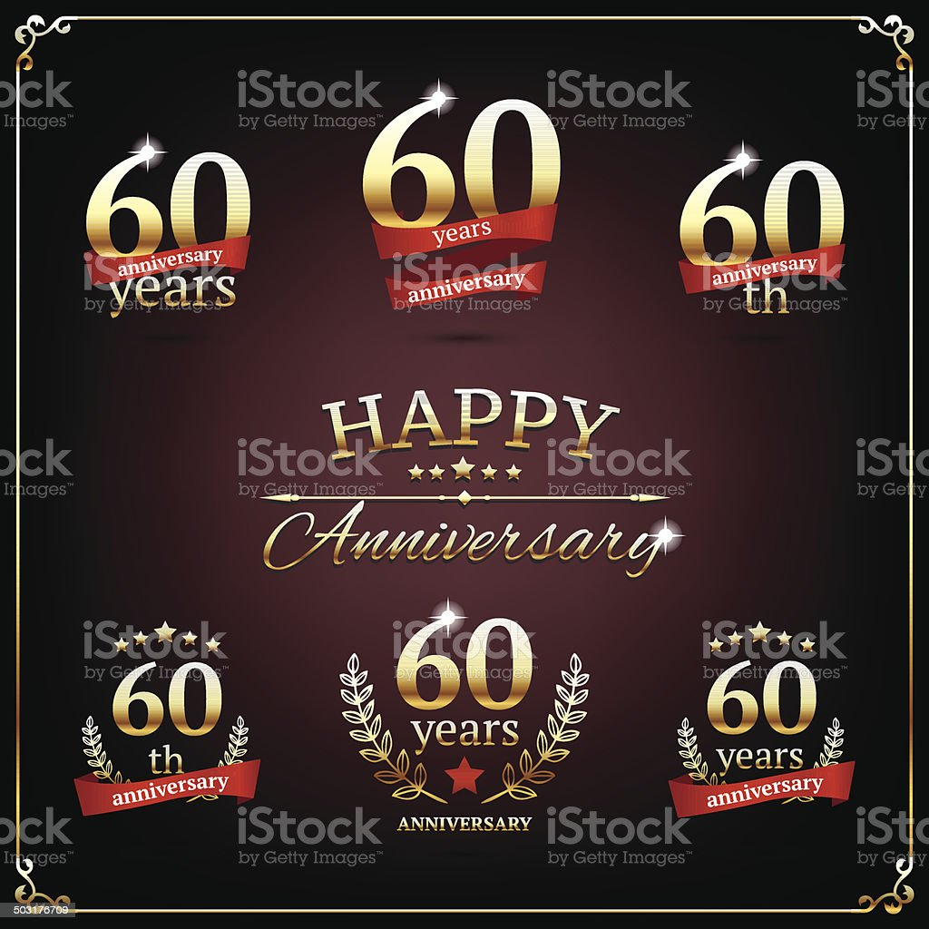 Sixty years anniversary signs collection vector art illustration