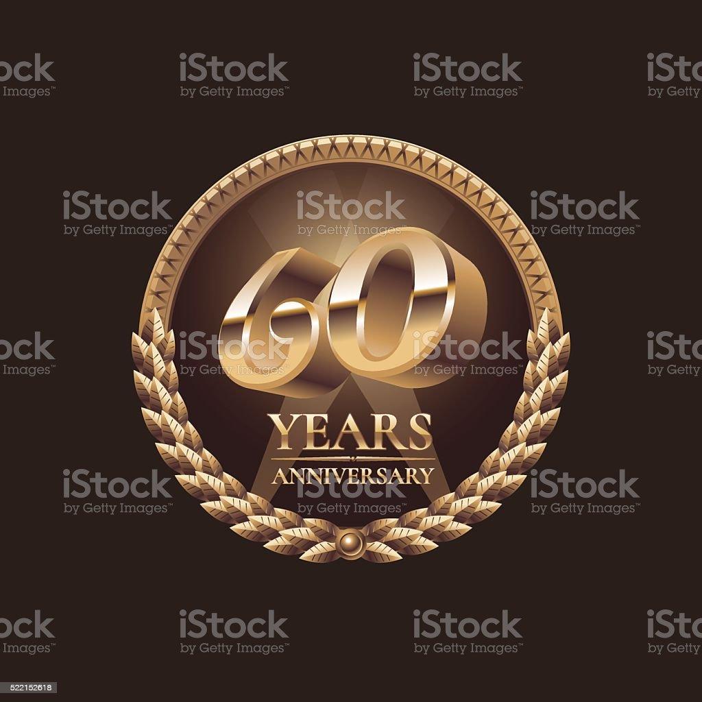 60 anni anniversario, icona vettoriale. 60 ª celebrazione progettazione - illustrazione arte vettoriale