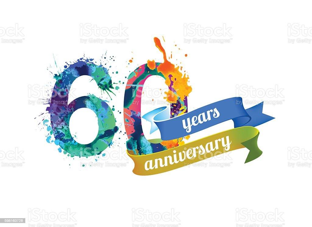 sixty (60) years anniversary vector art illustration