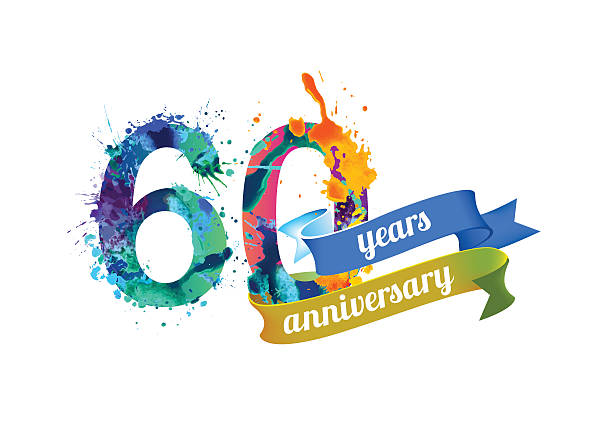 sixty (60) years anniversary vector art illustration