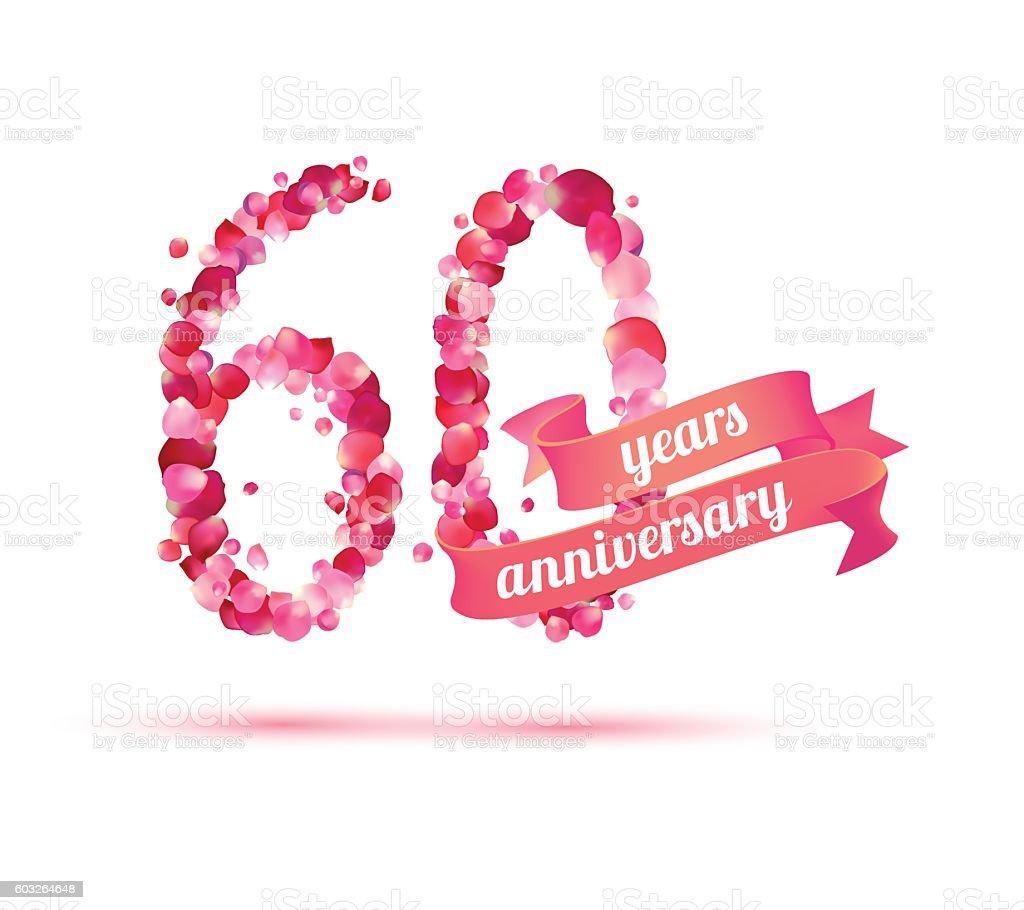 sixty (60) years anniversary - illustrazione arte vettoriale