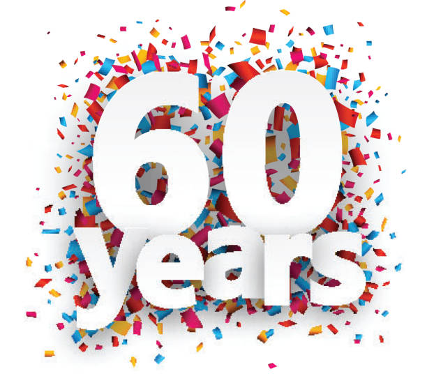 Sixty years paper confetti sign vector art illustration