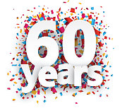 Sixty years paper confetti sign
