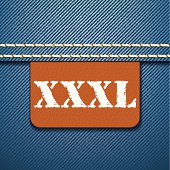 XXXL size clothing label - vector