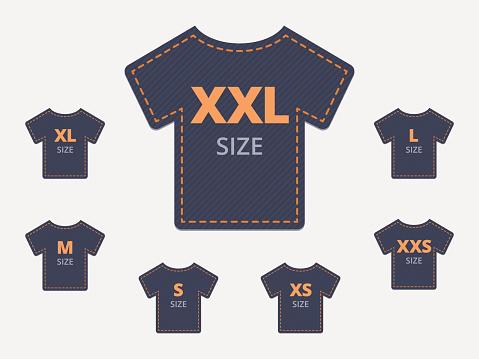 Size clothing t-shirt stickers set.