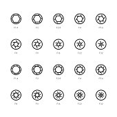 Size of Aperture Icons Line Series Vector EPS File.