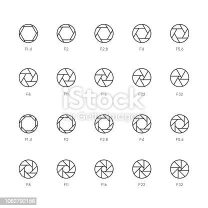 Size of Aperture Icons Thin Line Series Vector EPS File.