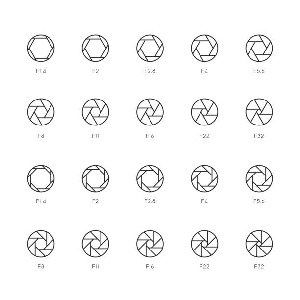 Size of Aperture Icons - Thin Line Series Size of Aperture Icons Thin Line Series Vector EPS File. aperture stock illustrations