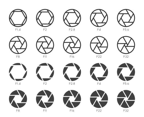 stockillustraties, clipart, cartoons en iconen met grootte van het diafragma ingesteld 1 - multi icons serie - hdri landscape