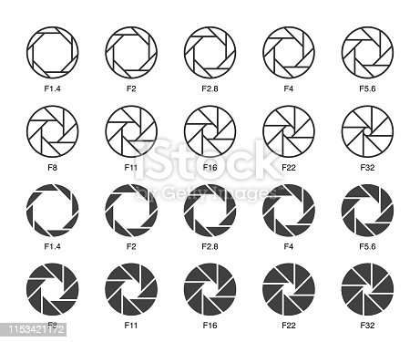 Size of Aperture Set 3 Multi Light Icons Vector EPS File.