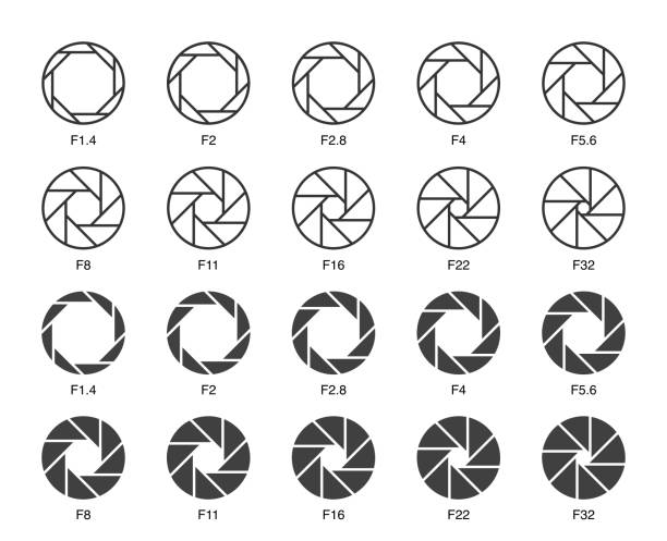 Size of Aperture Set 3 - Multi Light Icons Size of Aperture Set 3 Multi Light Icons Vector EPS File. camera photographic equipment stock illustrations