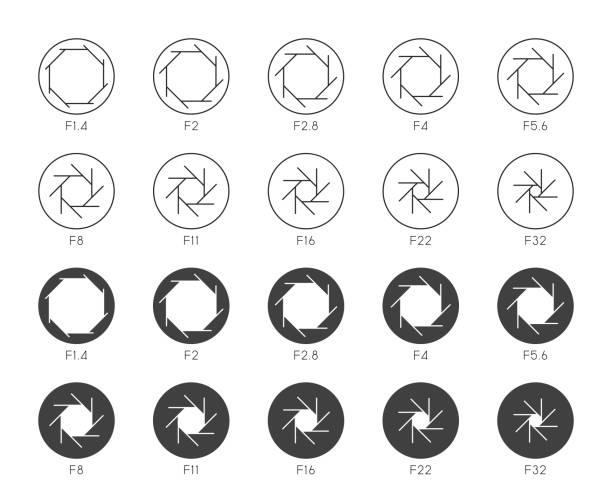 stockillustraties, clipart, cartoons en iconen met grootte van aperture set 4-multi dunne iconen - hdri landscape