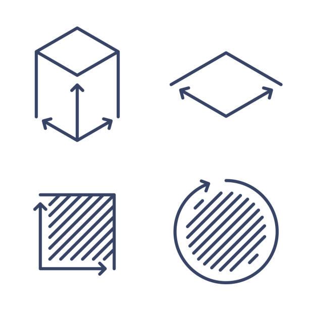 Size, square, area concept symbols. Dimension and measuring icon set. vector art illustration