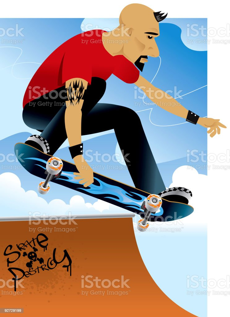 Skate and Destroy royalty-free stock vector art