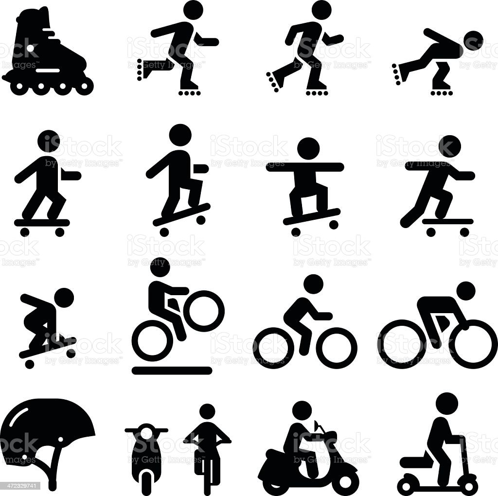 Skate and Street Icons - Black Series Skateboarding, scooter, rollerblading, bicycling and moped icons. Vector icons for video, mobile apps, Web sites and print projects. See more in this series. Bicycle stock vector