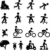 Skateboarding, scooter, rollerblading, bicycling and moped icons. Vector icons for video, mobile apps, Web sites and print projects. See more in this series.