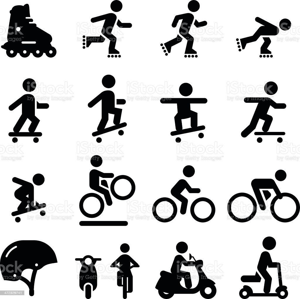 Skater- und Street-Icons-Schwarz-Serie – Vektorgrafik
