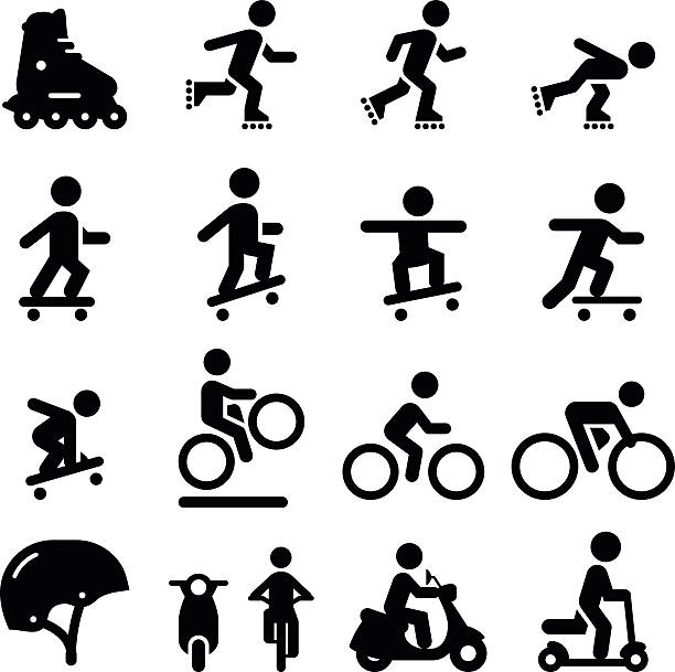 Skate and Street Icons - Black Series Skateboarding, scooter, rollerblading, bicycling and moped icons. Vector icons for video, mobile apps, Web sites and print projects. See more in this series. skateboard stock illustrations