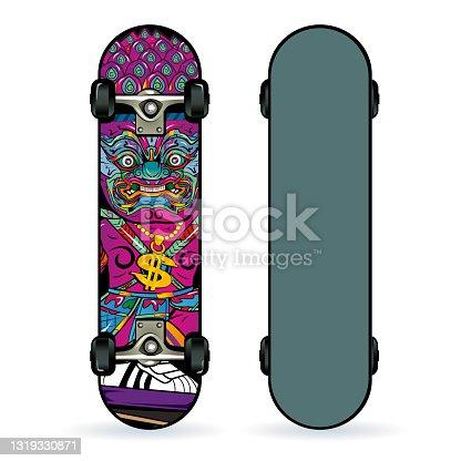 istock Skate board graphic, surf skate, Hip Hop , t-shirt graphics, vectors, illustration 1319330871